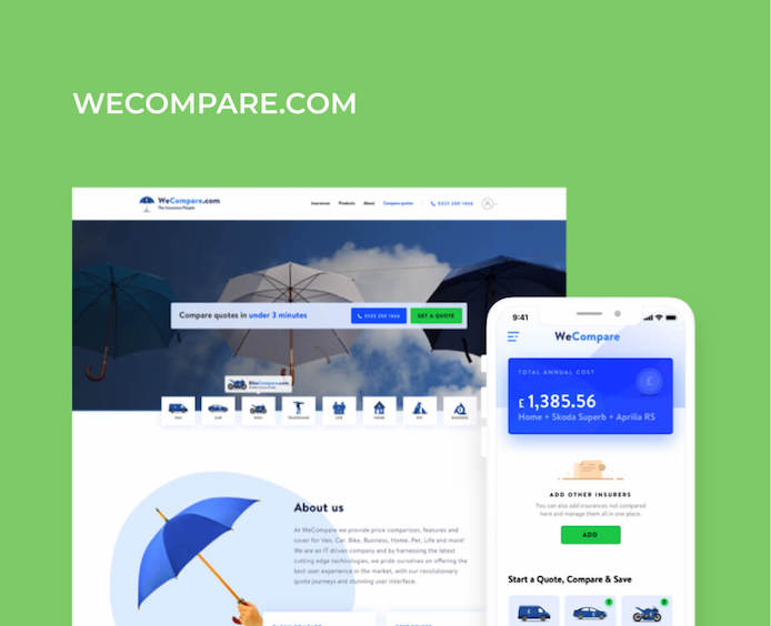 wecompare UI/UX website mobile apps